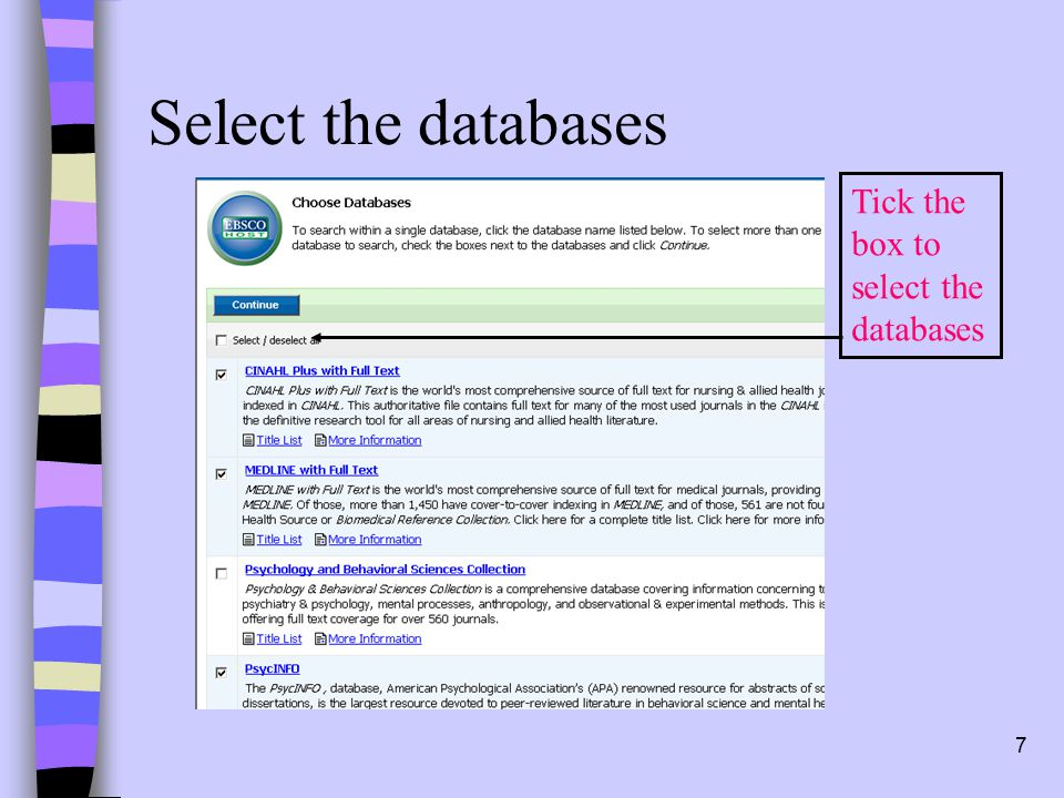7 Select the databases Tick the box to select the databases