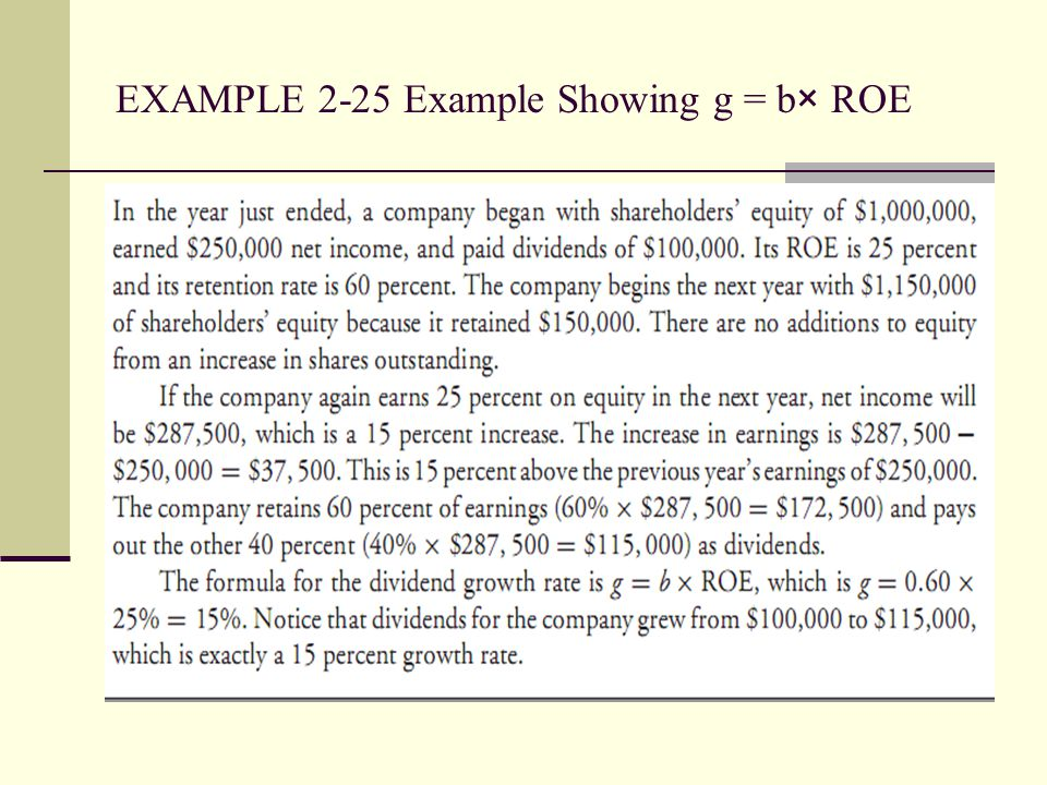 EXAMPLE 2-25 Example Showing g = b× ROE