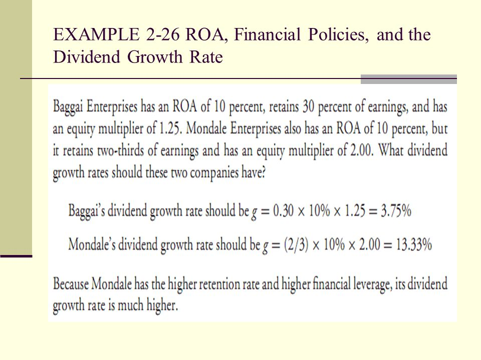 EXAMPLE 2-26 ROA, Financial Policies, and the Dividend Growth Rate