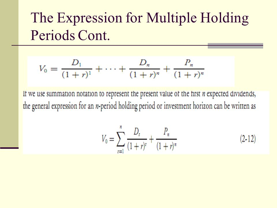 The Expression for Multiple Holding Periods Cont.