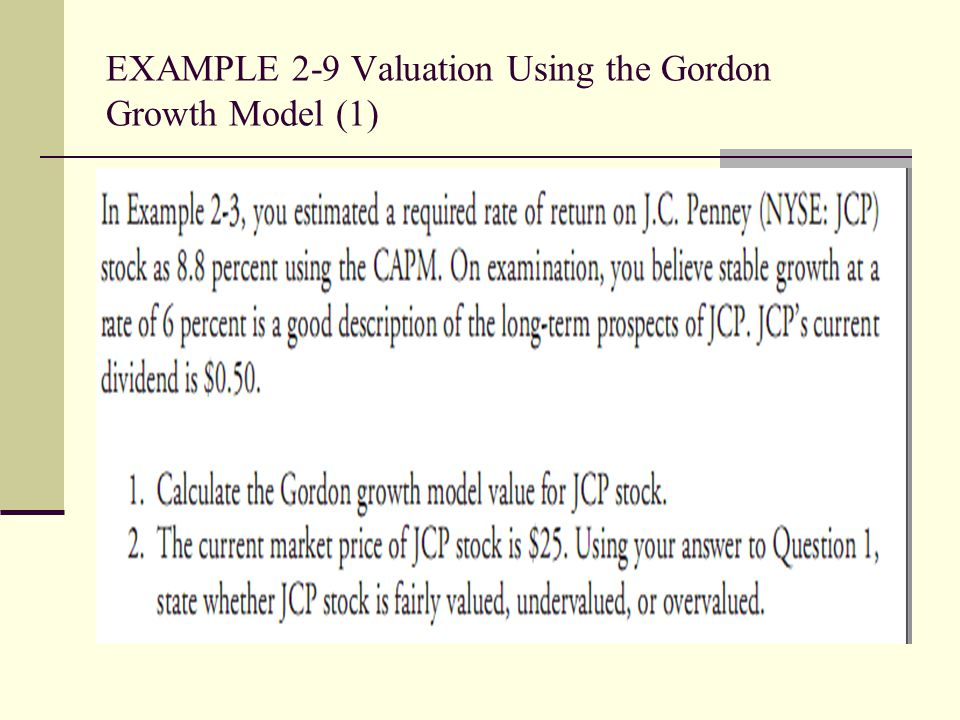 EXAMPLE 2-9 Valuation Using the Gordon Growth Model (1)