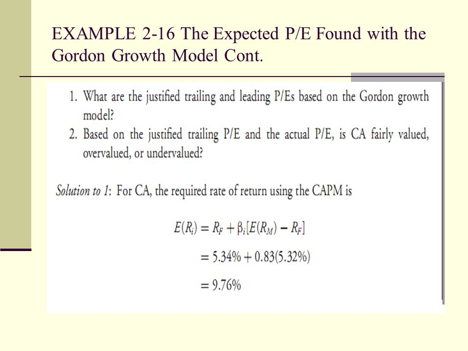 EXAMPLE 2-16 The Expected P/E Found with the Gordon Growth Model Cont.