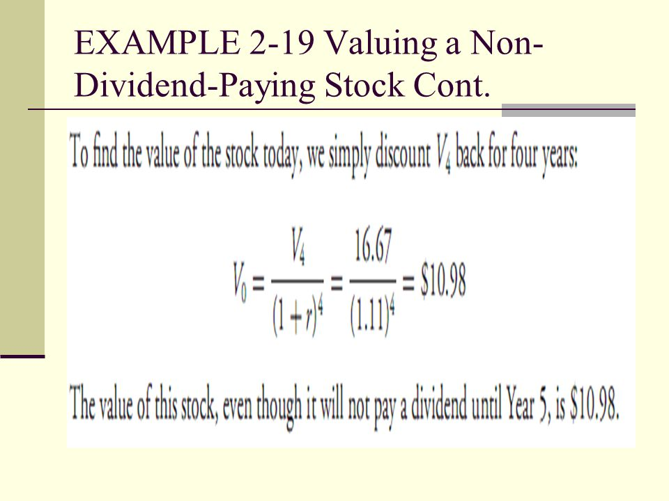 EXAMPLE 2-19 Valuing a Non- Dividend-Paying Stock Cont.
