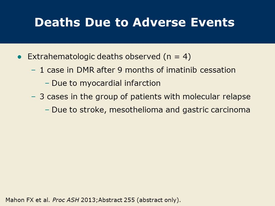 Author Conclusions Imatinib can be safely discontinued in patients with a DMR of at least 2 years duration.