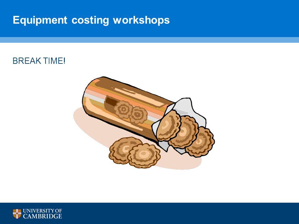 Equipment costing workshops BREAK TIME!