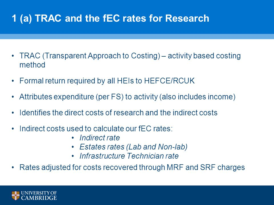 1 (a) TRAC and the fEC rates for Research TRAC (Transparent Approach to Costing) – activity based costing method Formal return required by all HEIs to