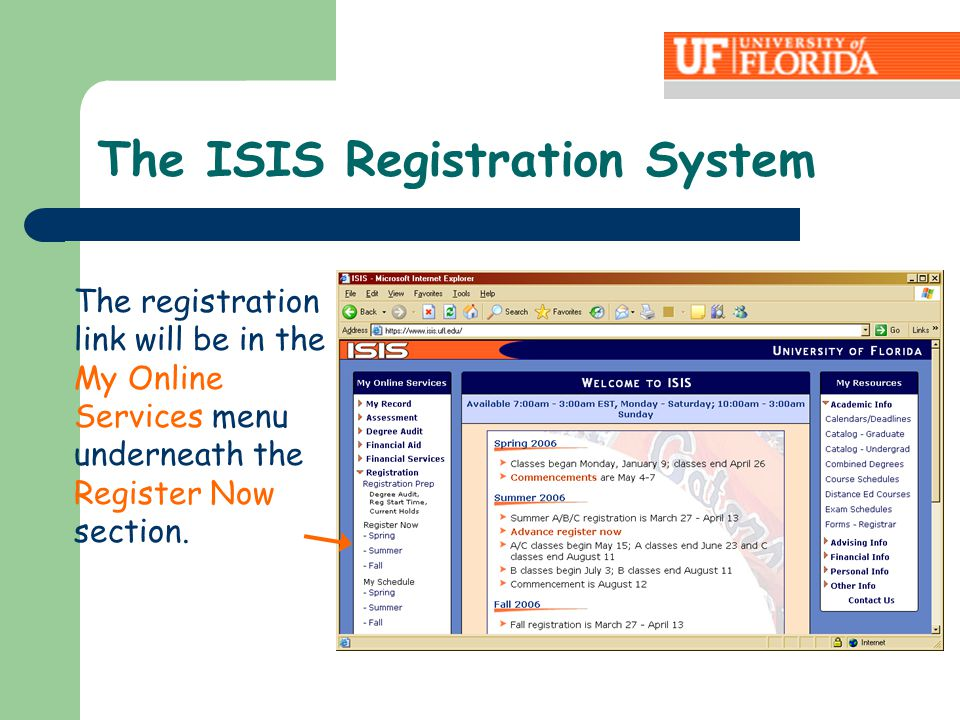 The registration link will be in the My Online Services menu underneath the Register Now section.