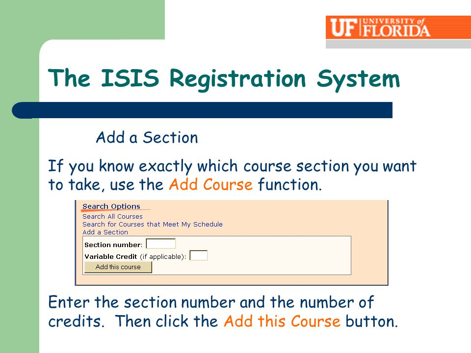 Enter the section number and the number of credits.
