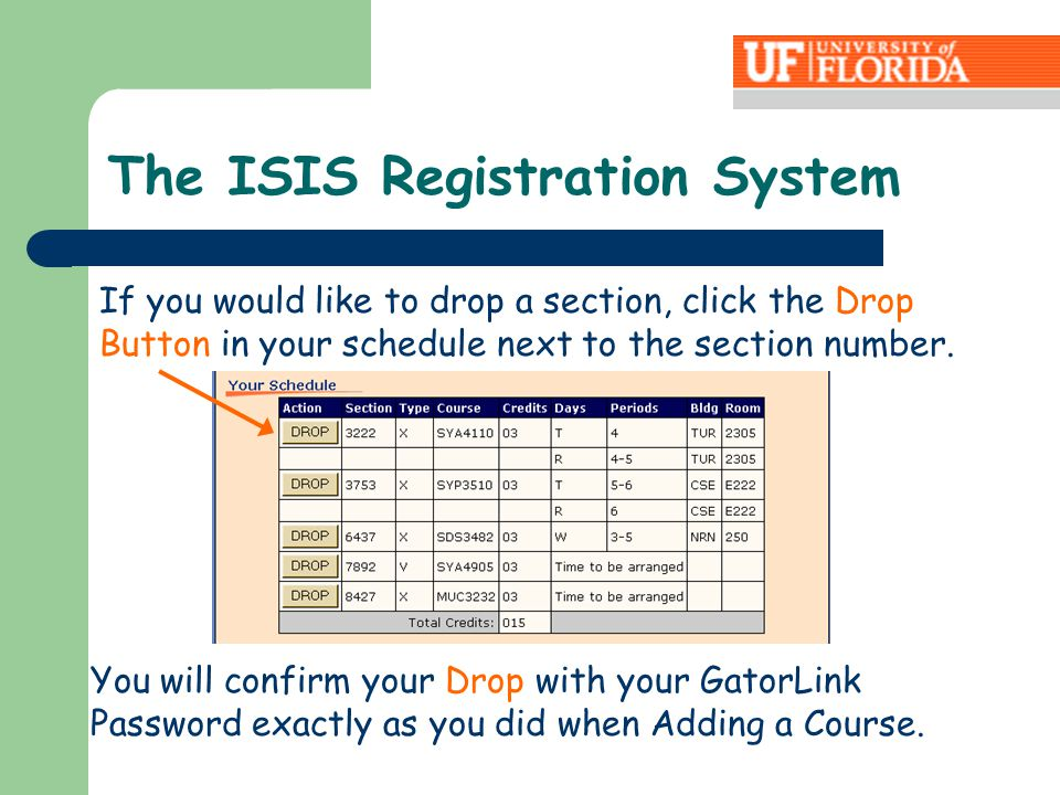 If you would like to drop a section, click the Drop Button in your schedule next to the section number. You will confirm your Drop with your GatorLink