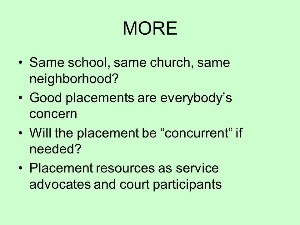MORE Same school, same church, same neighborhood.