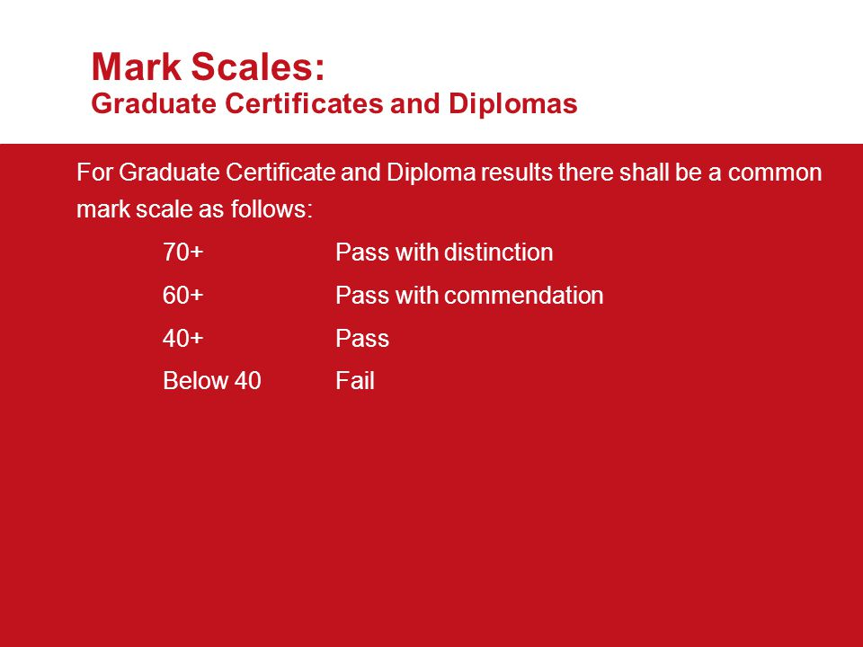 Mark Scales: Graduate Certificates and Diplomas *Note: Schools are required to notify the Director of Academic and Student Affairs of the date of submission of papers to External Examiners.