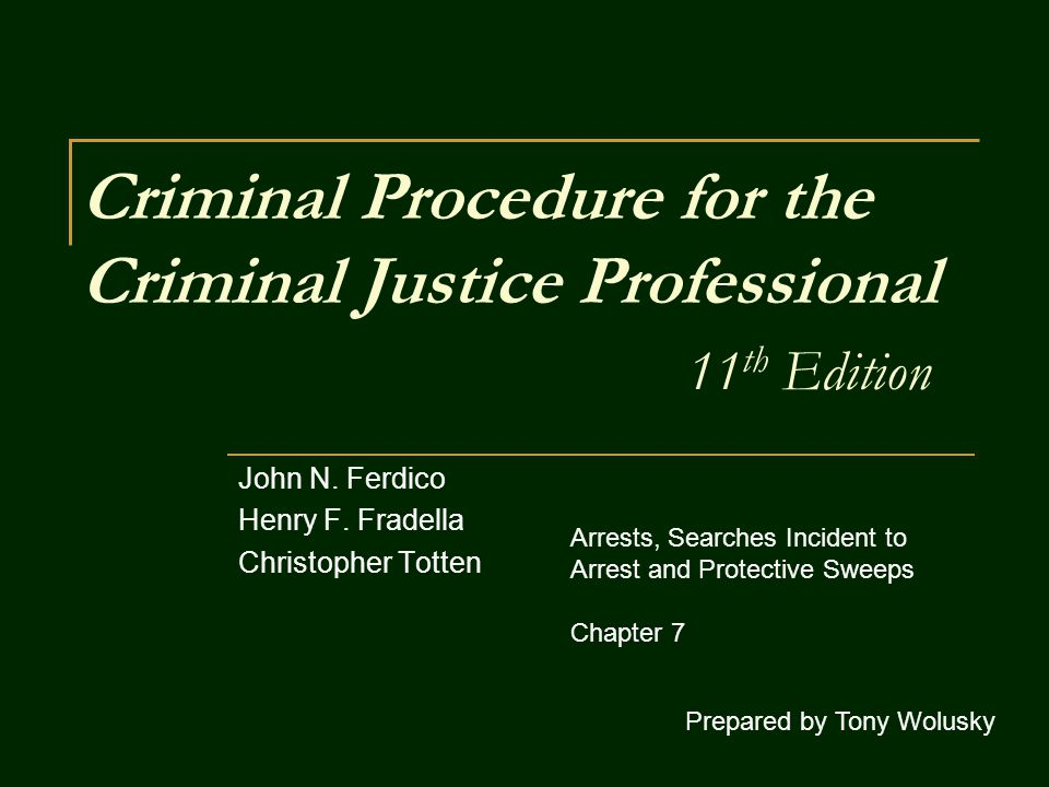 Criminal Procedure for the Criminal Justice Professional 11 th Edition John N. Ferdico Henry F. Fradella Christopher Totten Prepared by Tony Wolusky A