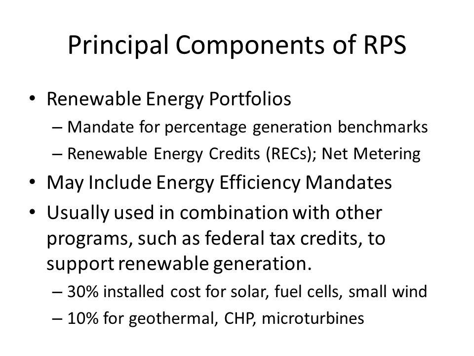 Principal Components of RPS Renewable Energy Portfolios – Mandate for percentage generation benchmarks – Renewable Energy Credits (RECs); Net Metering