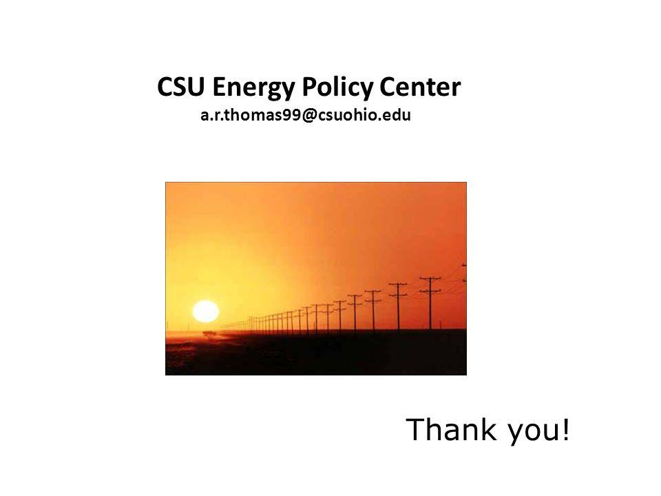 CSU Energy Policy Center a.r.thomas99@csuohio.edu Thank you!