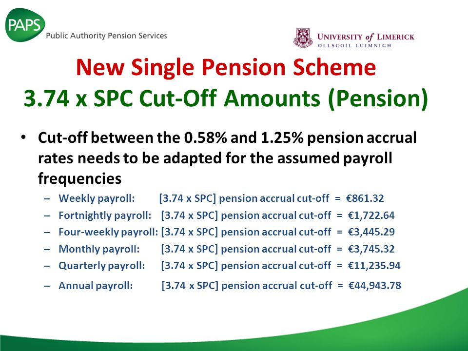 New Single Pension Scheme 3.74 x SPC Cut-Off Amounts (Pension) Cut-off between the 0.58% and 1.25% pension accrual rates needs to be adapted for the assumed payroll frequencies – Weekly payroll: [3.74 x SPC] pension accrual cut-off = €861.32 – Fortnightly payroll:[3.74 x SPC] pension accrual cut-off = €1,722.64 – Four-weekly payroll:[3.74 x SPC] pension accrual cut-off = €3,445.29 – Monthly payroll:[3.74 x SPC] pension accrual cut-off = €3,745.32 – Quarterly payroll:[3.74 x SPC] pension accrual cut-off = €11,235.94 – Annual payroll: [3.74 x SPC] pension accrual cut-off = €44,943.78