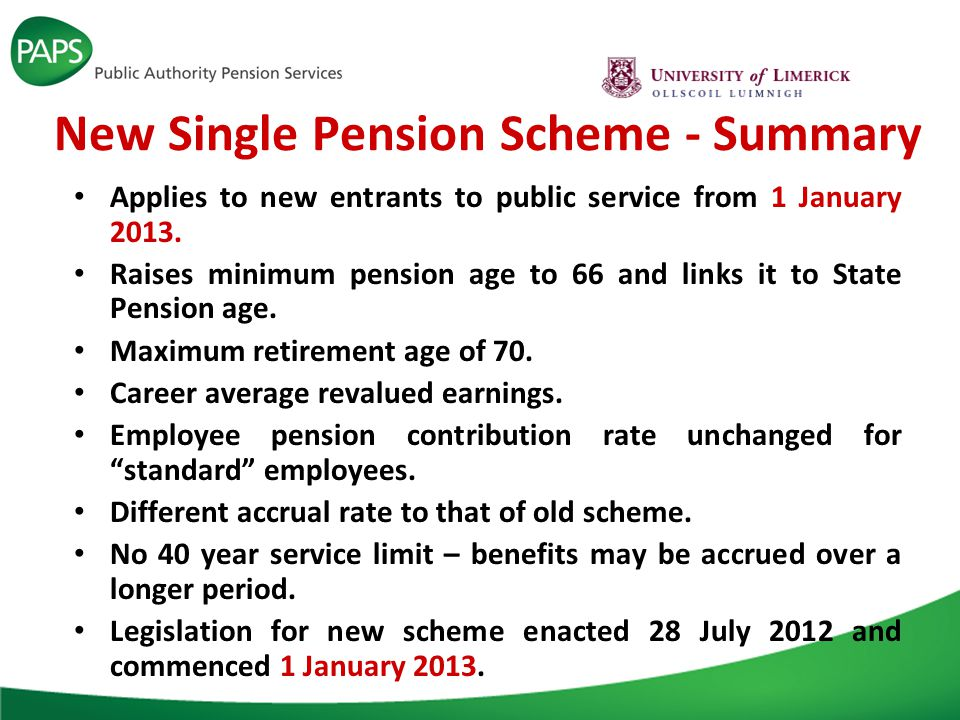 New Single Pension Scheme - Summary Applies to new entrants to public service from 1 January 2013.