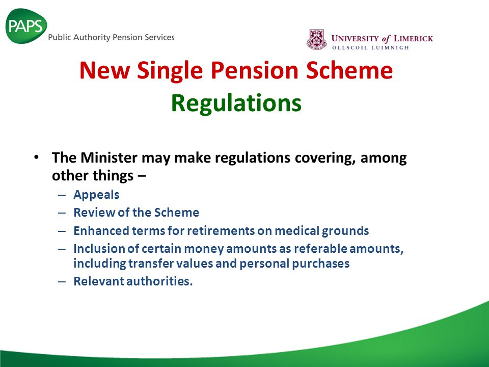 New Single Pension Scheme Regulations The Minister may make regulations covering, among other things – – Appeals – Review of the Scheme – Enhanced terms for retirements on medical grounds – Inclusion of certain money amounts as referable amounts, including transfer values and personal purchases – Relevant authorities.