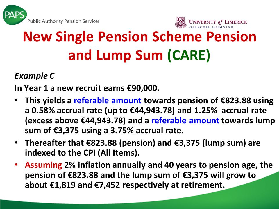 New Single Pension Scheme Pension and Lump Sum (CARE) Example C In Year 1 a new recruit earns €90,000.
