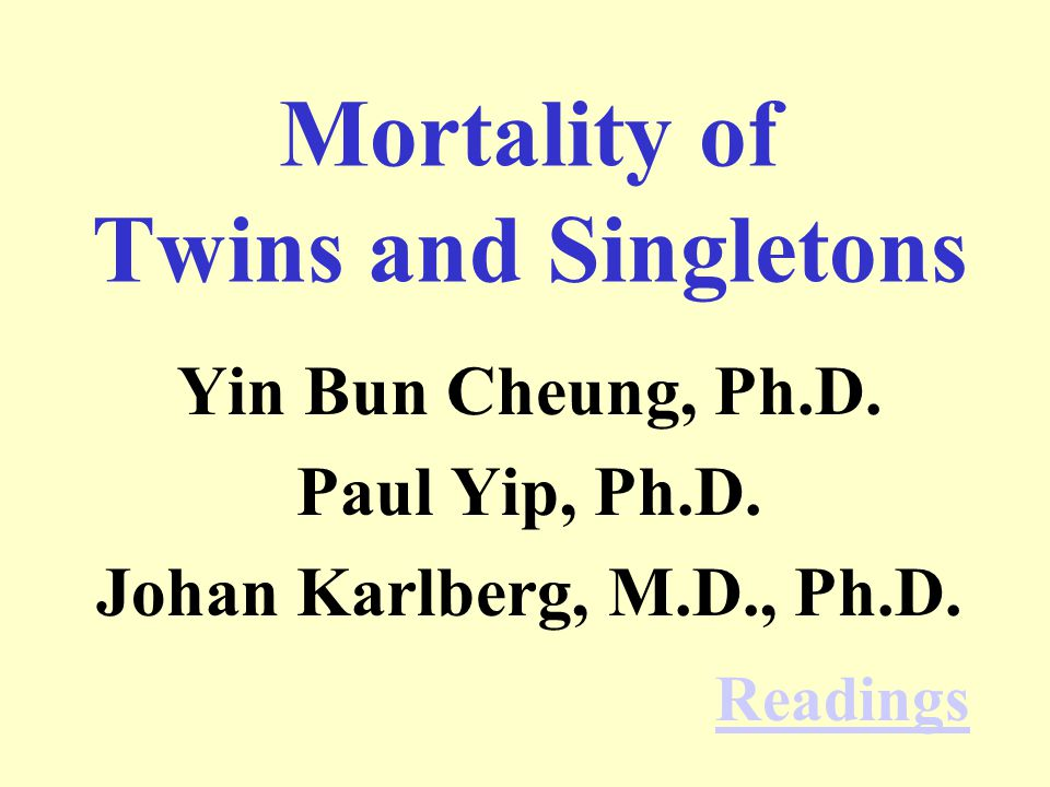 Mortality of Twins and Singletons Yin Bun Cheung, Ph.D.