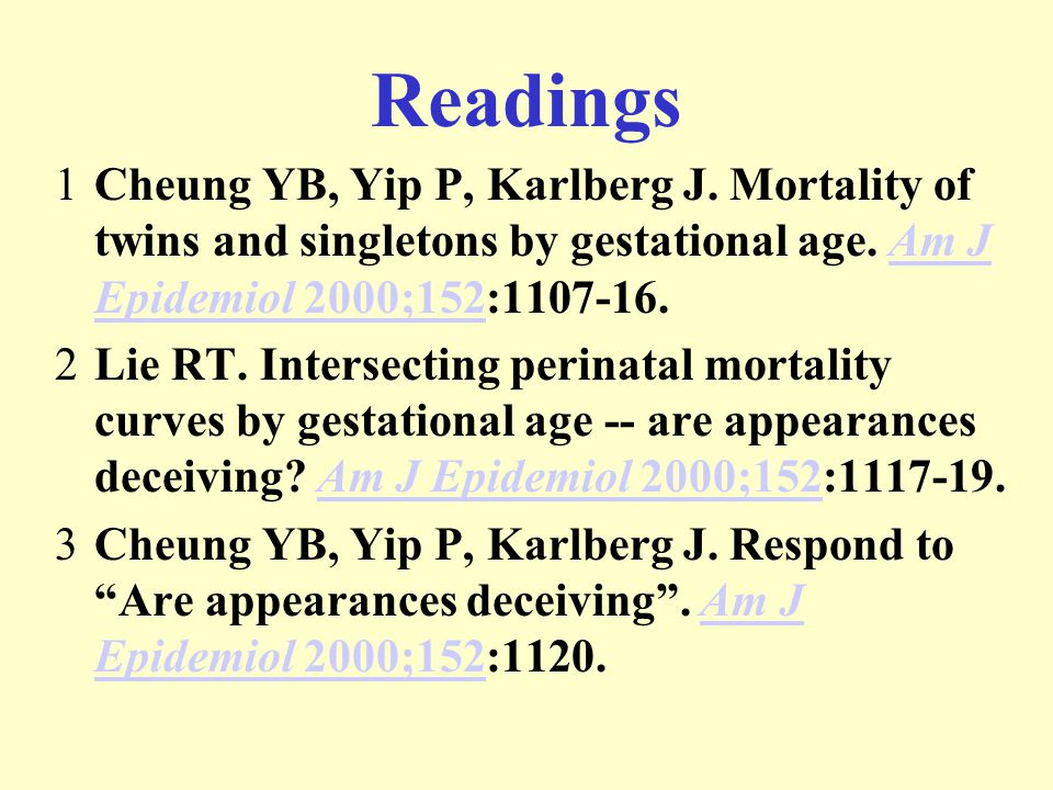 Readings 1Cheung YB, Yip P, Karlberg J. Mortality of twins and singletons by gestational age.