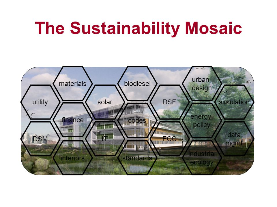 solarsimulation data mgmt industrial ecology energy policy urban design FCC DSF standards codes biodiesel IT materials finance interiors utility DSM The Sustainability Mosaic