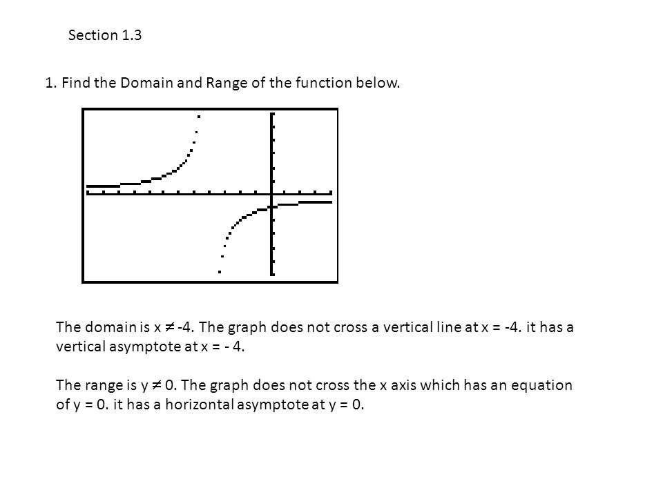 Section 1.3 1. Find the Domain and Range of the function below. The domain is x  -4. The graph does not cross a vertical line at x = -4. it has a ver