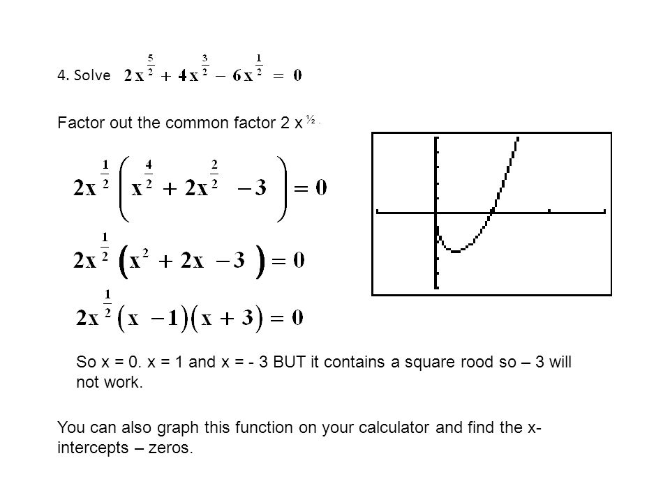 4. Solve Factor out the common factor 2 x ½. So x = 0. x = 1 and x = - 3 BUT it contains a square rood so – 3 will not work. You can also graph this f