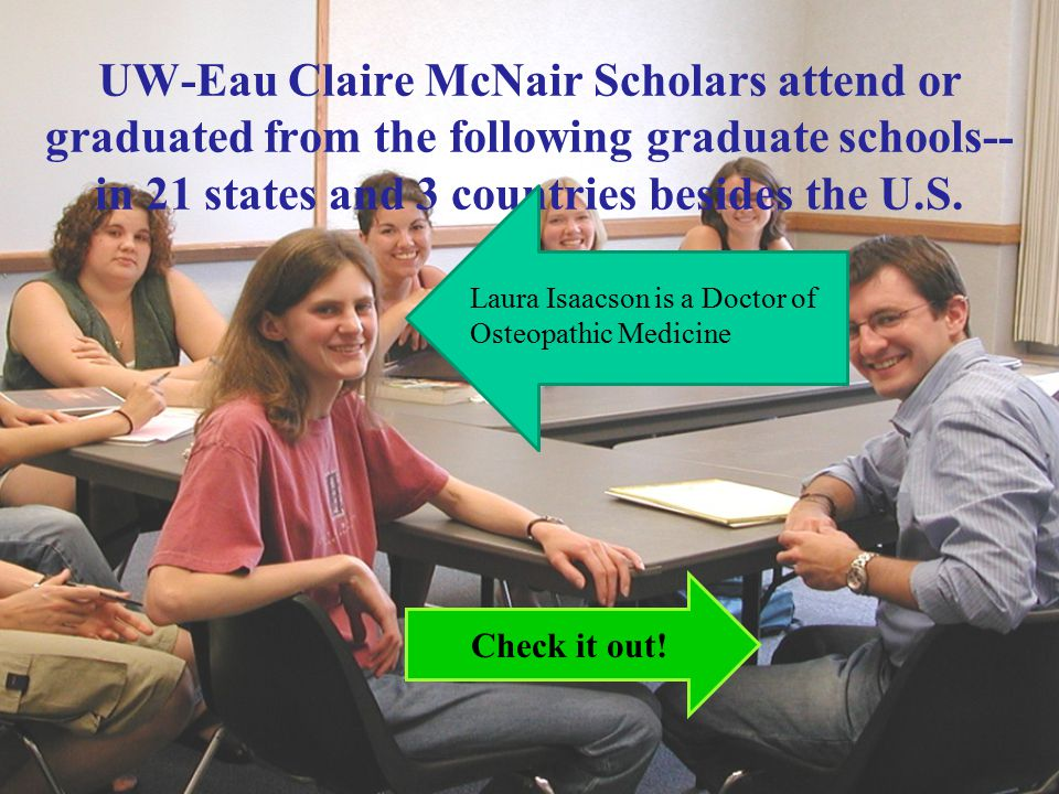 UW-Eau Claire McNair Scholars attend or graduated from the following graduate schools-- in 21 states and 3 countries besides the U.S.