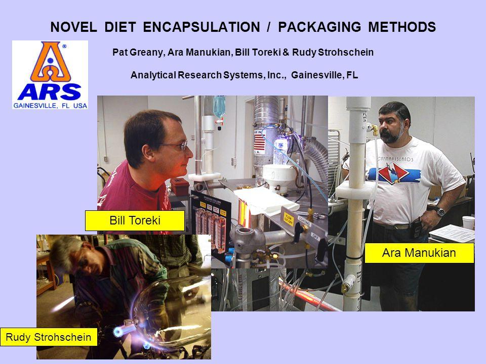 NOVEL DIET ENCAPSULATION / PACKAGING METHODS Pat Greany, Ara Manukian, Bill Toreki & Rudy Strohschein Analytical Research Systems, Inc., Gainesville,