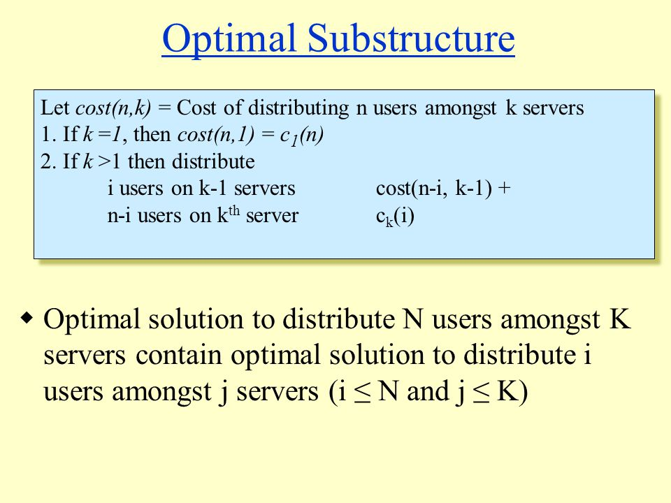 Optimal Substructure Let cost(n,k) = Cost of distributing n users amongst k servers 1.