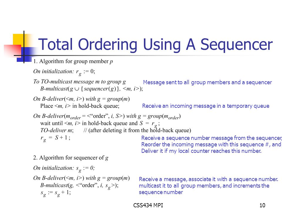 CSS434 MPI10 Total Ordering Using A Sequencer Message sent to all group members and a sequencer Receive a message, associate it with a sequence number.