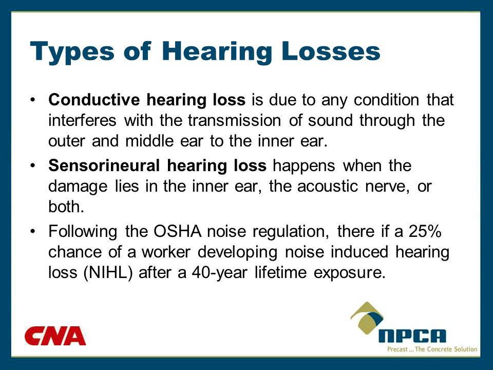 Types of Hearing Losses Conductive hearing loss is due to any condition that interferes with the transmission of sound through the outer and middle ea