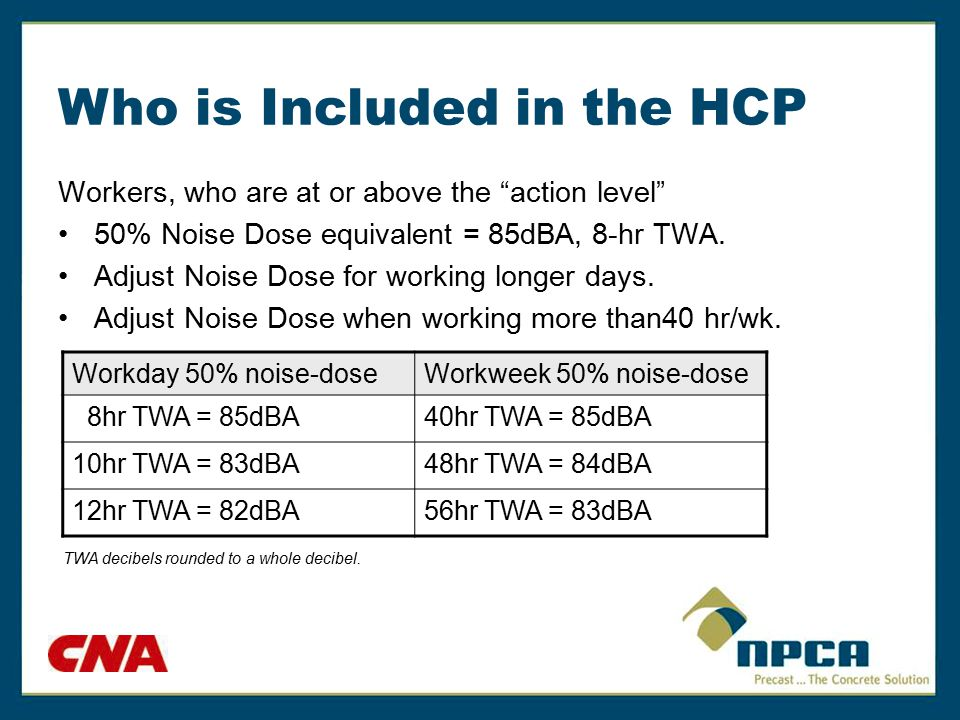 "Who is Included in the HCP Workers, who are at or above the ""action level"" 50% Noise Dose equivalent = 85dBA, 8-hr TWA. Adjust Noise Dose for working"