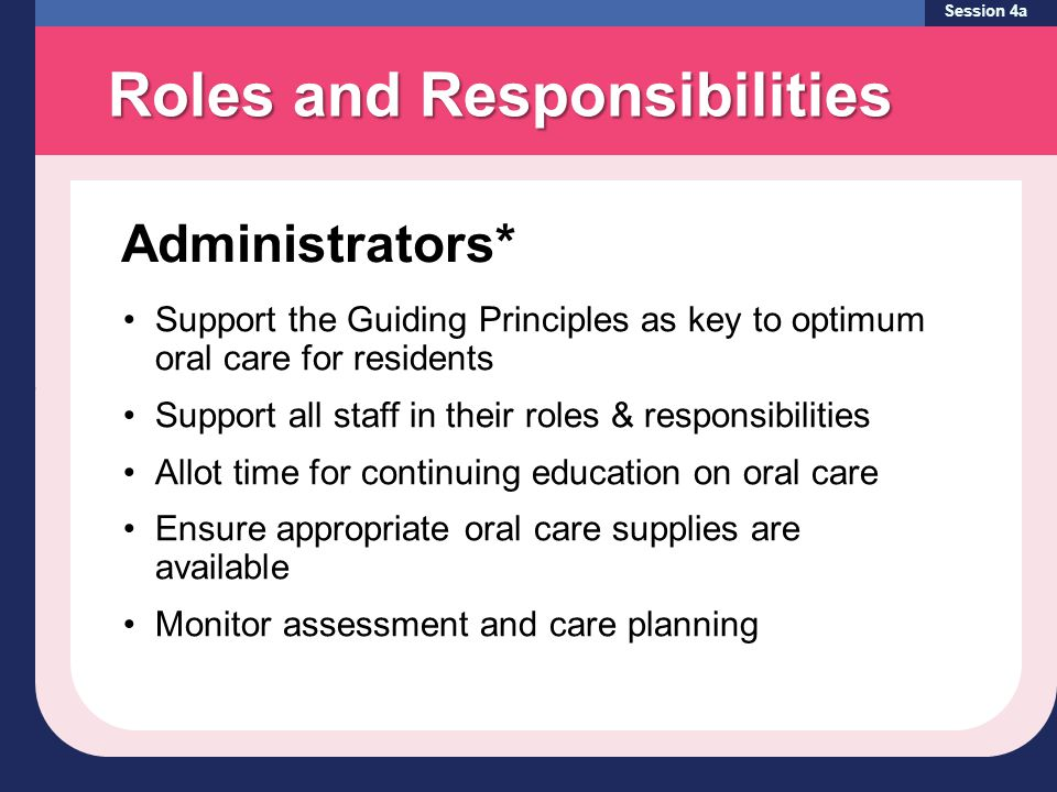 Session 4a Support the Guiding Principles as key to optimum oral care for residents Support all staff in their roles & responsibilities Allot time for continuing education on oral care Ensure appropriate oral care supplies are available Monitor assessment and care planning Administrators* Roles and Responsibilities