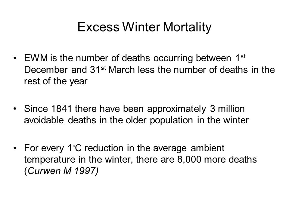 Excess Winter Mortality EWM is the number of deaths occurring between 1 st December and 31 st March less the number of deaths in the rest of the year Since 1841 there have been approximately 3 million avoidable deaths in the older population in the winter For every 1 ◦ C reduction in the average ambient temperature in the winter, there are 8,000 more deaths (Curwen M 1997)