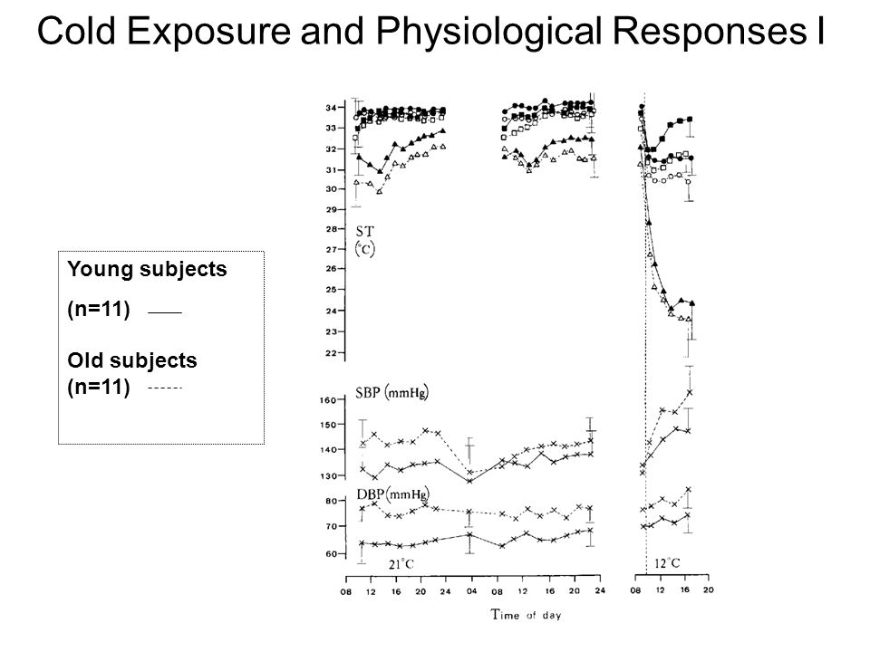 Cold Exposure and Physiological Responses II Young subjects (n=11) Old subjects (n=11) ◦