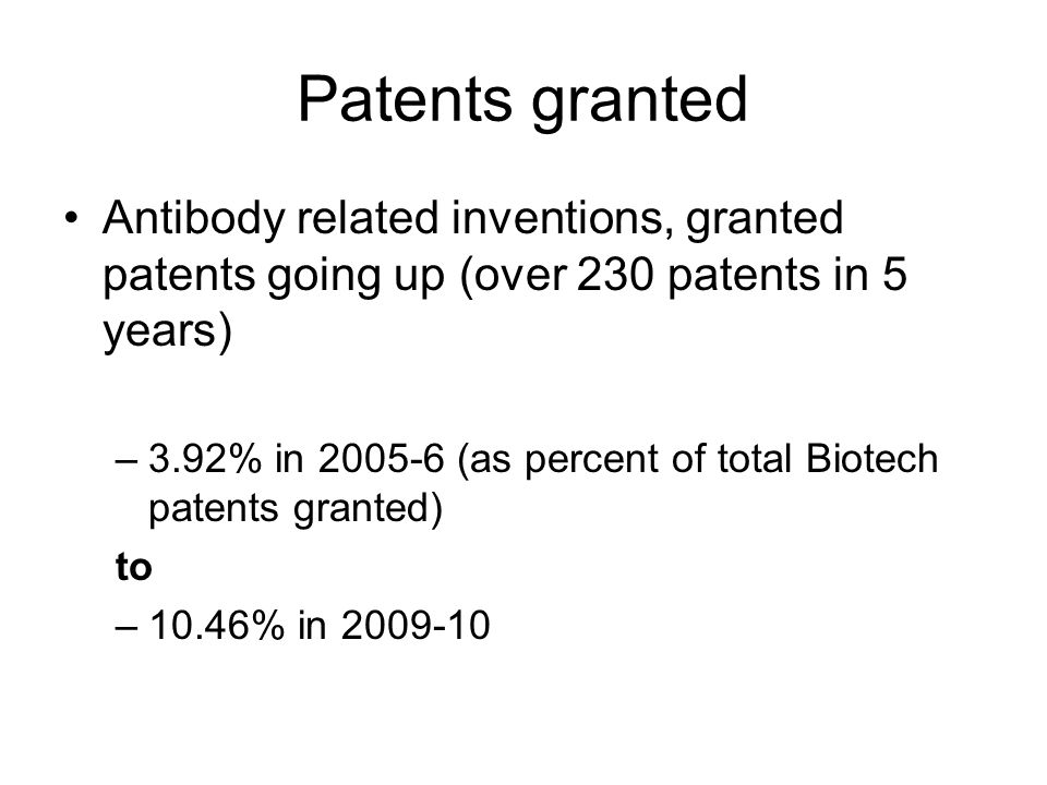 Patents granted Antibody related inventions, granted patents going up (over 230 patents in 5 years) –3.92% in 2005-6 (as percent of total Biotech patents granted) to –10.46% in 2009-10