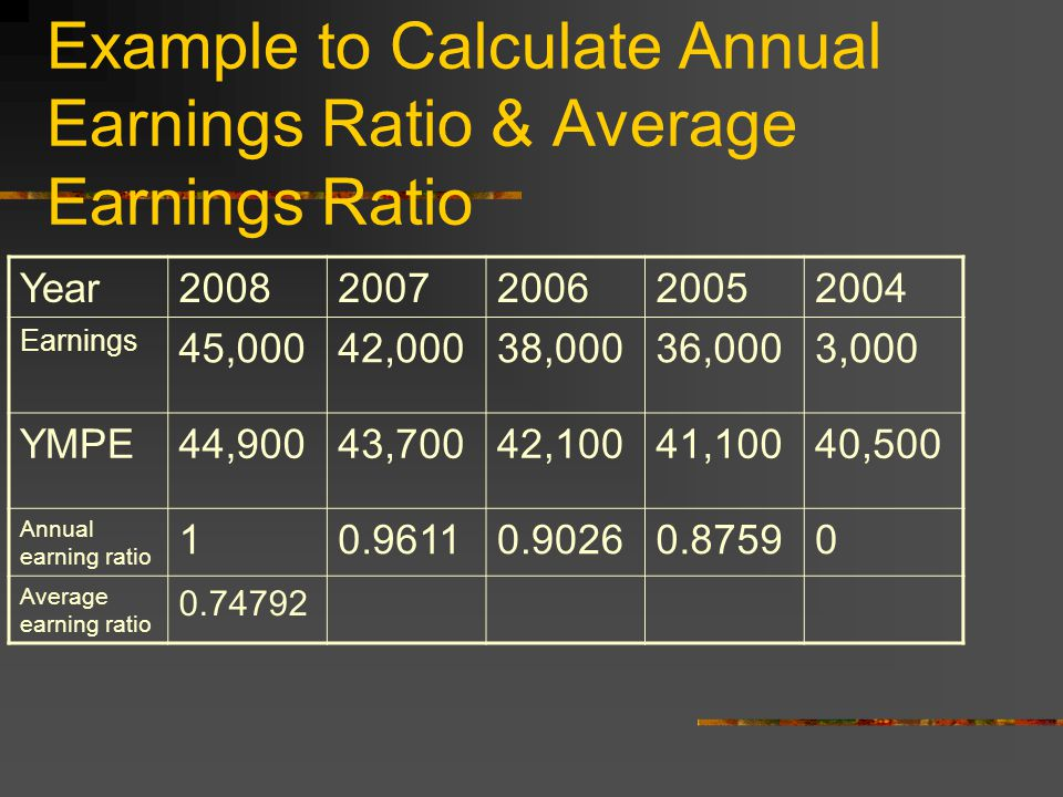 Average Annual Earning Ratio Average of annual earning ratios Annual earning ratio is calculated as the unadjusted earnings divided by the YMPE for that year.