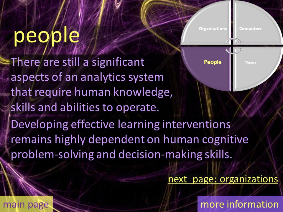 There are still a significant aspects of an analytics system that require human knowledge, skills and abilities to operate.