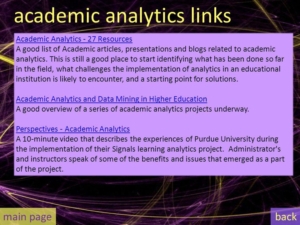 academic analytics links Academic Analytics - 27 Resources A good list of Academic articles, presentations and blogs related to academic analytics.
