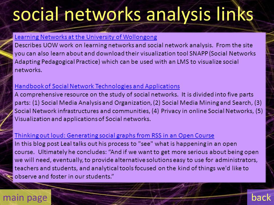 social networks analysis links Learning Networks at the University of Wollongong Describes UOW work on learning networks and social network analysis.