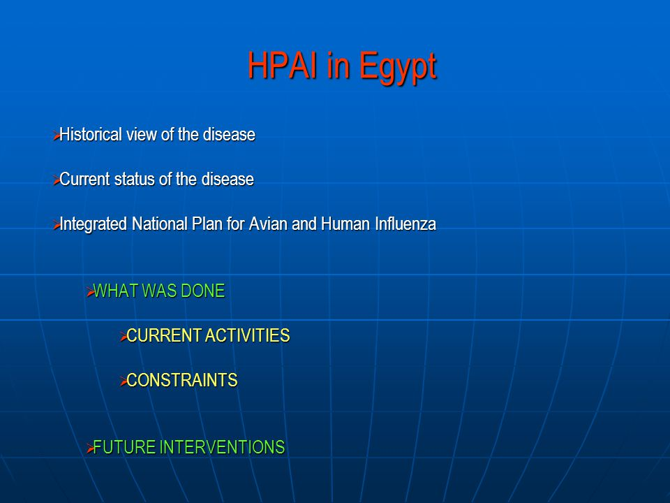 HPAI in Egypt  Historical view of the disease  Current status of the disease  Integrated National Plan for Avian and Human Influenza  WHAT WAS DONE  CURRENT ACTIVITIES  CONSTRAINTS  FUTURE INTERVENTIONS