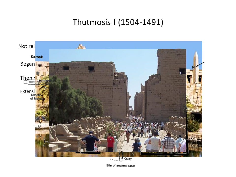 Extensive work on the Temple of Amun at Karnak Thutmosis I (1504-1491) Not related to Amenhotep by blood – possibly married into royal family Began wi