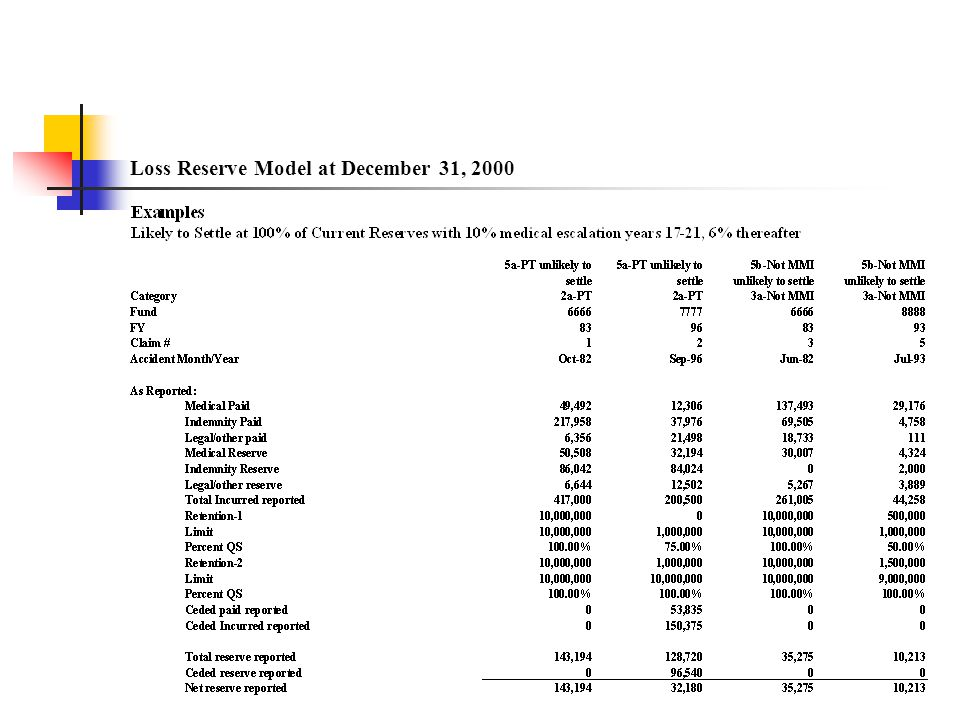 Loss Reserve Model at December 31, 2000