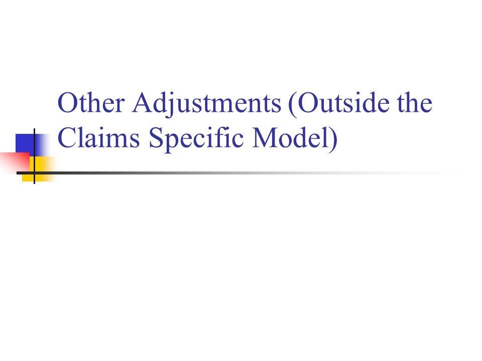 Other Adjustments (Outside the Claims Specific Model)