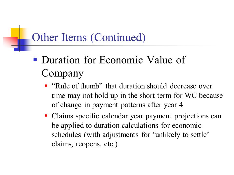"Other Items (Continued)  Duration for Economic Value of Company  ""Rule of thumb"" that duration should decrease over time may not hold up in the shor"
