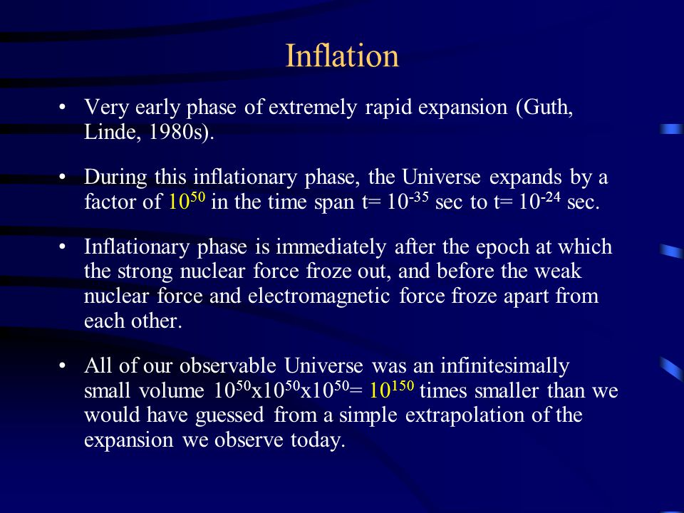 Inflation Very early phase of extremely rapid expansion (Guth, Linde, 1980s).