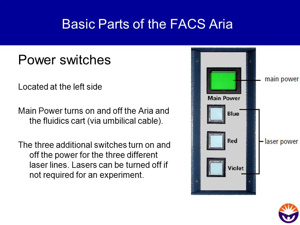 Power switches Located at the left side Main Power turns on and off the Aria and the fluidics cart (via umbilical cable). The three additional switche
