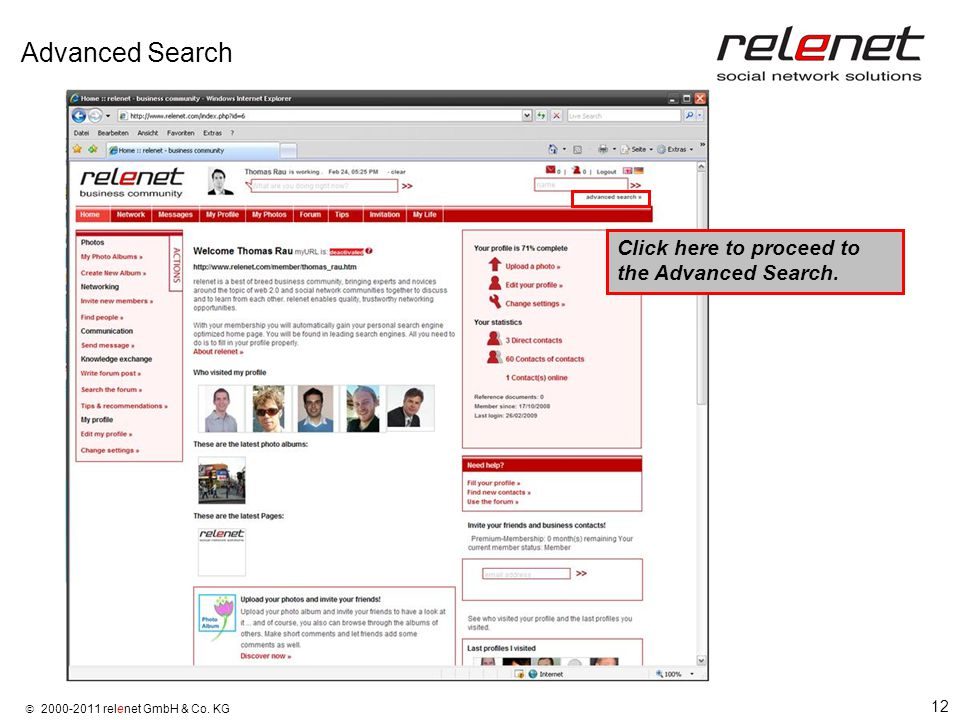 12  2000-2011 relenet GmbH & Co. KG Advanced Search Click here to proceed to the Advanced Search.