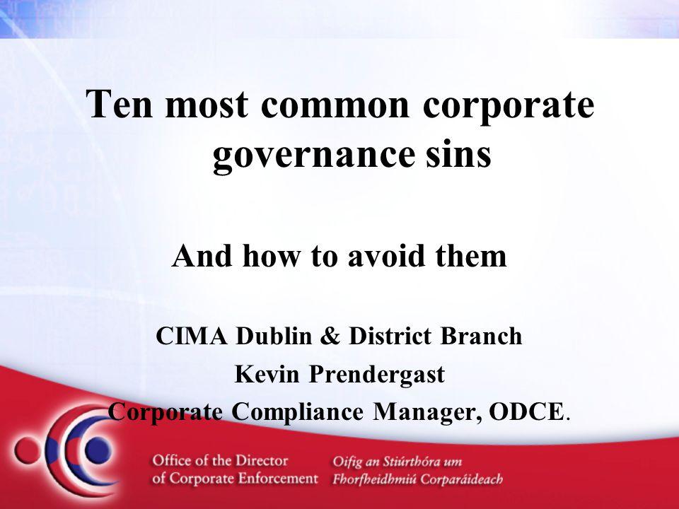 Corporate Governance Sins 10.